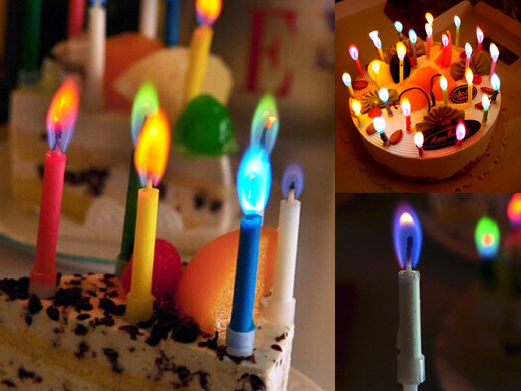 Free Birthday Uk ~ Birthday candles with multicoloured flame free shipping