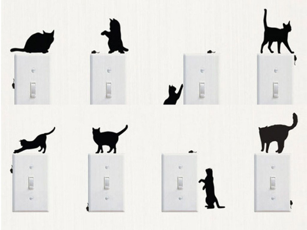Cat Wall Stickers, 8 Different Cat Motives. FREE Shipping!